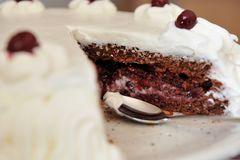 Sour cherry cake with whipped cream. Sour cherry cake with whipped cream on platter and a spoon close-up Stock Images