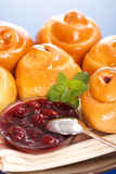 Sour cherry cakes and jam Stock Image