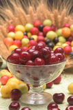 Sour cherry and cherry plums. In a glass bowl Stock Images