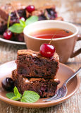 Sour cherry chocolate brownies Stock Images
