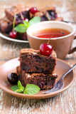 Sour cherry chocolate brownies Royalty Free Stock Photography