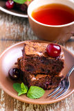 Sour cherry chocolate brownies Stock Photos