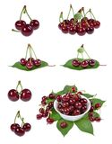 Sour cherry  isolated on white Royalty Free Stock Images