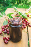Sour cherry jam Stock Photos