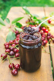 Sour cherry jam Stock Photos