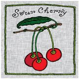Sour cherry label woodcut Stock Images