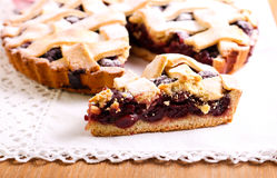 Sour cherry lattice pie Stock Photography