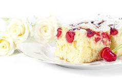 Sour cherry sponge cake Stock Photo