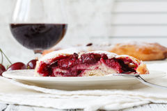 Sour cherry tart slice with coffee Royalty Free Stock Photo