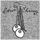 Sour cherry woodcut. Sour cherry with typography black and white woodcut Royalty Free Stock Photos
