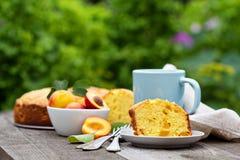 Sour cream cake with nectarines Stock Photo