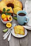 Sour cream cake with nectarines Royalty Free Stock Image