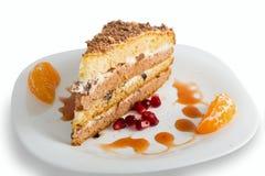 Sour cream cake with prunes Stock Photo