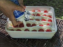 Sour cream on cake Stock Images
