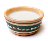 Sour cream in a ceramic pot Royalty Free Stock Images