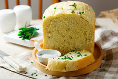 Sour cream chive bread .style rustic Royalty Free Stock Image