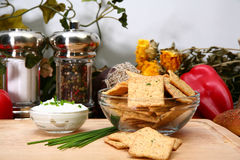 Sour Cream and Chive Crackers Stock Image