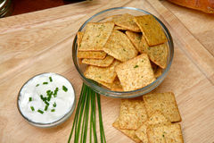 Sour Cream and Chive Flavored Crackers Stock Photography