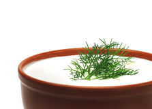 Sour cream and dill Stock Photos