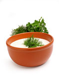 Sour cream and dill in a bowl Royalty Free Stock Image