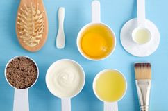 Sour cream or greek yogurt, raw egg, ground coffee with brown sugar and olive oil in a small scoops. Ingredients for preparing d. Sour cream greek yogurt, raw stock photography