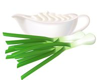 Sour cream and green onions. Stock Images