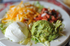 Sour Cream and Guacamole Royalty Free Stock Photography
