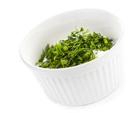 Sour cream with herbs, isolated Royalty Free Stock Photos