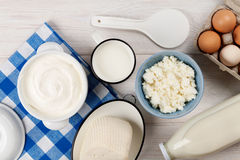 Sour cream, milk, cheese, eggs, yogurt and butter Royalty Free Stock Image