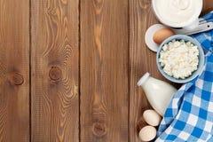 Sour cream, milk, cheese, eggs, yogurt and butter Stock Photo