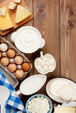 Sour cream, milk, cheese, eggs, yogurt and butter Stock Image