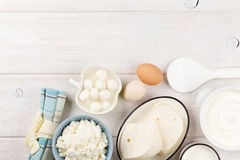 Sour cream, milk, cheese, eggs and yogurt Royalty Free Stock Image
