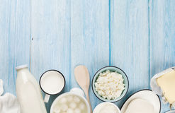 Sour cream, milk, cheese, yogurt and butter Royalty Free Stock Images