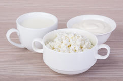 Sour cream, milk and cottage cheese Royalty Free Stock Photos