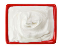 Sour cream in red small square plate Royalty Free Stock Photos