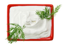 Sour cream in red square plate with dill twig Stock Photography