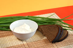 Sour cream, rye bread and spring onions. Russian traditional appetizers - sour cream, brown rye bread and spring onions stock photography