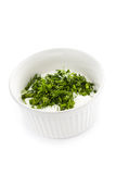 Sour cream in small round plate with herbs Stock Photos