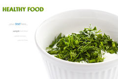 Sour cream in small round plate with herbs Stock Images