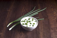 Sour creame. Round dish of homemade tartar sauce. Sour cream wit Royalty Free Stock Photography