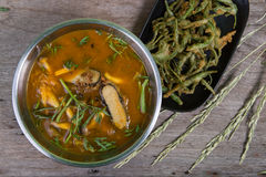 Sour curry with tamarind sauce,  and vegetables Royalty Free Stock Image