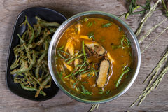 Sour curry with tamarind sauce,  and vegetables traditional Stock Photos