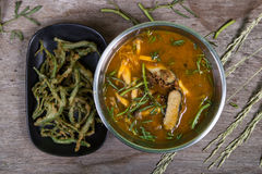 Sour curry with tamarind sauce,  and vegetables Royalty Free Stock Photos