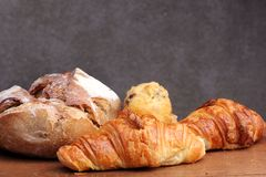 Sour dough bread croissant muffin Royalty Free Stock Images