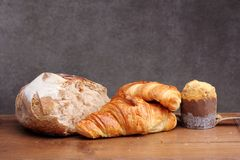 Sour dough bread croissant muffin Stock Images