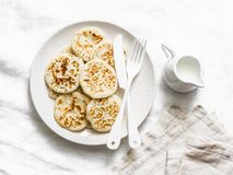 Sour dough pancakes - healthy breakfast, snack on a light background stock images