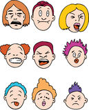 Sour Faced People. Collection of nine faces expressing their revulsion Stock Photography