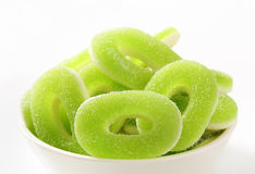 Sour gummy apple rings Royalty Free Stock Photo