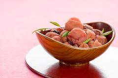 Sour Japanese plum (umeboshi). Royalty Free Stock Photo