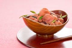 Sour Japanese plum (umeboshi). Royalty Free Stock Photography